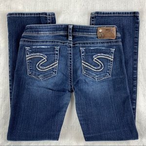 Silver Tuesday Blue Jeans Size W29/L31 Low Rise Boot Cut Factory Fade and Fray